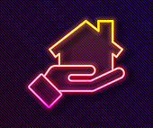 Glowing neon line Realtor icon isolated on black background. Buying house. Vector Illustration