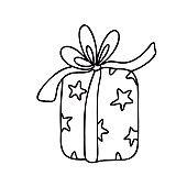 Vector gift box with ribbon bow.