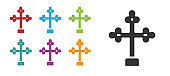 Black Christian cross icon isolated on white background. Church cross. Set icons colorful. Vector