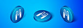 Isometric Jump rope icon isolated on blue background. Skipping rope. Sport equipment. Blue circle button. Vector