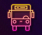 Glowing neon line Bus icon isolated on black background. Transportation concept. Bus tour transport sign. Tourism or public vehicle symbol. Vector