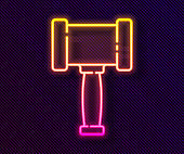 Glowing neon line Judge gavel icon isolated on black background. Gavel for adjudication of sentences and bills, court, justice. Auction hammer. Vector