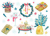 Watercolor set with colorful Christmas decorations