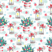 Watercolor seamless pattern with lanterns and fir branches in vases on white.