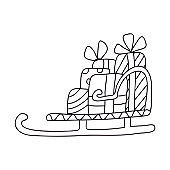 Christmas Santa's sleigh with gift boxes  doodle.