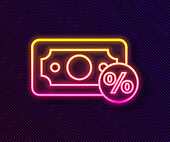 Glowing neon line Money percent icon isolated on black background. Percent loyalty wallet sign. Vector Illustration