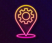 Glowing neon line Location with gear icon isolated on black background. Vector Illustration
