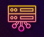 Glowing neon line Server, Data, Web Hosting icon isolated on black background. Vector