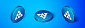 Isometric Gold bars icon isolated on blue background. Banking business concept. Blue circle button. Vector Illustration