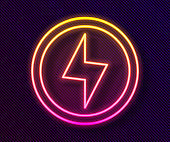 Glowing neon line Lightning bolt icon isolated on black background. Flash sign. Charge flash icon. Thunder bolt. Lighting strike. Vector
