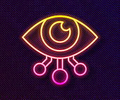 Glowing neon line Eye scan icon isolated on black background. Scanning eye. Security check symbol. Cyber eye sign. Vector