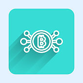 White line Cryptocurrency bitcoin in circle with microchip circuit icon isolated with long shadow. Blockchain technology, digital money market. Green square button. Vector