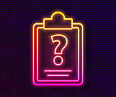 Glowing neon line Clipboard with question marks icon isolated on black background. Survey, quiz, investigation, customer support questions concepts. Vector Illustration