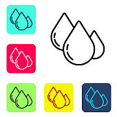 Black line Water drop icon isolated on white background. Set icons in color square buttons. Vector Illustration