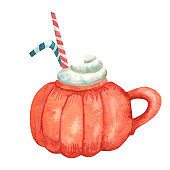 Watercolor pumpkin shaped mug of cappuccino garnished with whipped cream and decorated with striped straws.