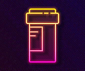 Glowing neon line Medicine bottle icon isolated on black background. Bottle pill sign. Pharmacy design. Vector Illustration