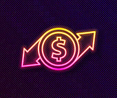 Glowing neon line Financial growth and dollar coin icon isolated on black background. Increasing revenue. Vector Illustration
