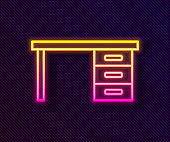 Glowing neon line Office desk icon isolated on black background. Vector Illustration
