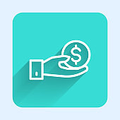 White line Human hand giving money icon isolated with long shadow. Receiving money icon. Green square button. Vector