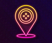 Glowing neon line Location tailor shop icon isolated on black background. Vector Illustration