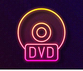 Glowing neon line CD or DVD disk icon isolated on black background. Compact disc sign. Vector Illustration