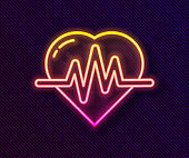 Glowing neon line Heart rate icon isolated on black background. Heartbeat sign. Heart pulse icon. Cardiogram icon. Vector Illustration