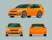 Orange hatchback car three angle set. Car with side, back and front view. Vector flat style illustration.
