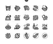 Mexican hot tacos. Tacos cooking and ingredients for tacos. Mexican cuisine. Fast food. Menu for restaurant and cafe. Vector Solid Icons. Simple Pictogram