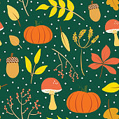 Cute forest green autumn illustration print. Colorful fall seamless pattern vector. Isolated elements. Cartoon style digital drawings.