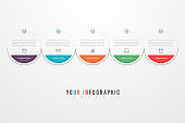 Minimal Business Infographics template with 5 steps, options and marketing icons. Vector infographic with five circle elements. Can be use for presentation.