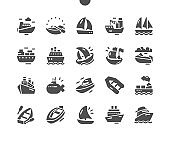Sailing boat. Logistics and transportation of an international container cargo ship. Ships and Boats. Vector Solid Icons. Simple Pictogram