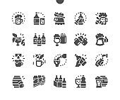 Craft beer. Pub food. Delicious beer snack. Glass of beer on the bar. Barrel of beer. Menu for restaurant and cafe. Vector Solid Icons. Simple Pictogram