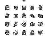 Carton packaging box. Mail containers in various shapes. Delivery packaging open and closed box. Vector Solid Icons. Simple Pictogram