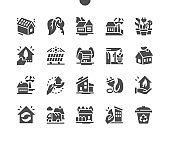 Modern green house. Concept eco house. Green energy and solar panels. Landscape with ecology concept. Vector Solid Icons. Simple Pictogram