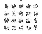 Tropical jungle plants. Summer rest and holiday. Monstera, palm and banana leaves. Vector Solid Icons. Simple Pictogram