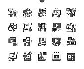Video blogging. Live streaming, broadcast concept. Video online communication. Blogger. Vlog popularity, video blog monetization concept. Vector Solid Icons. Simple Pictogram