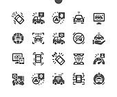 Unmanned vehicle with automatic self-driving system. Autonomous smart car. Self driving car. Vector Solid Icons. Simple Pictogram