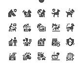 Pet insurance. Vet clinic and pet care concept. Protection for pets. Life and health. Insurance payment. Vector Solid Icons. Simple Pictogram
