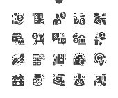 Bank credit and loan. Credit card, rate calculator, deposit. Finance management. Loan agreement signing. Loan disbursement, quick loan service. Vector Solid Icons. Simple Pictogram