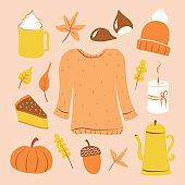 Autumn forest illustrations. Cartoon style digital drawings. Fall leaves, coffee, tea-kettle, cozy sweater, candle, cake, chestnuts, beanie, acorn, and pumpkin.