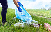 Environmental activists picking up trash on a sunny day.