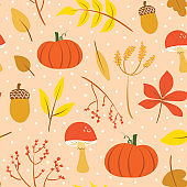 Cute pink autumn illustration print. Colorful fall seamless pattern vector. Isolated elements. Cartoon style digital drawings.