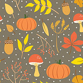 Cute gray autumn illustration print. Cozy fall seamless pattern vector. Isolated elements. Cartoon style digital drawings.