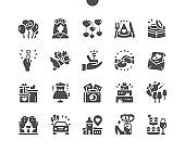 Happy wedding. Marriage proposal. Wedding bouquet in the hands of the bride. Wedding car. Bride accessories. Wedding rings. Vector Solid Icons. Simple Pictogram