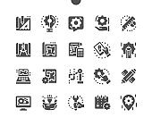 Engineering. Manufacturing factory. Industrial work project. Engineer, settings. Designing drawings mechanical parts engineering. Vector Solid Icons. Simple Pictogram