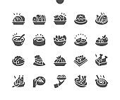Plates with different food. Ceramic dishes pile. Restaurant kitchen. Menu for restaurant and cafe. Vector Solid Icons. Simple Pictogram
