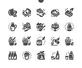 Various types of dairy products milk, cheese, cottage cheese, eggs, yogurt, sour cream and butter. Menu for restaurant and cafe. Vector Solid Icons. Simple Pictogram