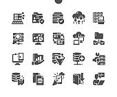 Big Data. User analysis, database security. Network folders, software developer. Cloud technology. Vector Solid Icons. Simple Pictogram