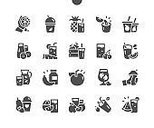 Freshly squeezed juice, fruit and vegetable smoothies in glass glasses. Healthy lifestyle concept. Menu for restaurant and cafe. Vector Solid Icons. Simple Pictogram