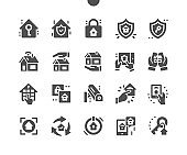 Home security. Smart home technology system with centralized control. Key to home protection. Monitoring the state of the house by phone. Vector Solid Icons. Simple Pictogram